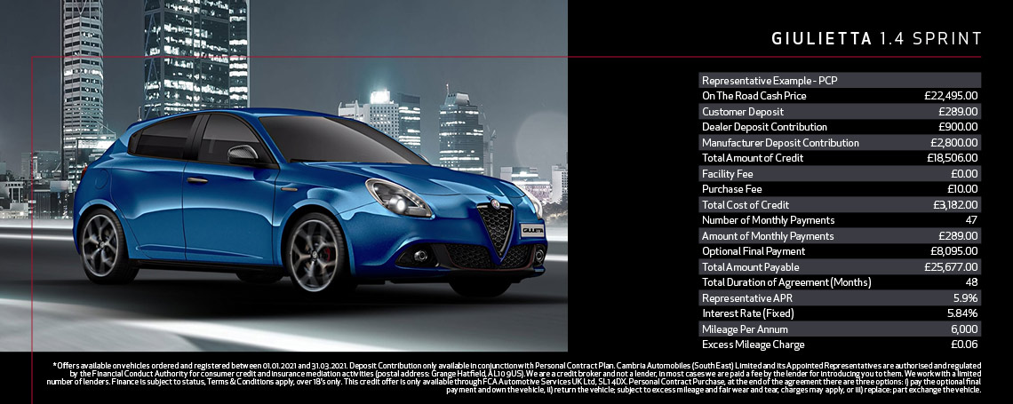 New Alfa Romeo Giulietta Sprint Q1 2021 Offer