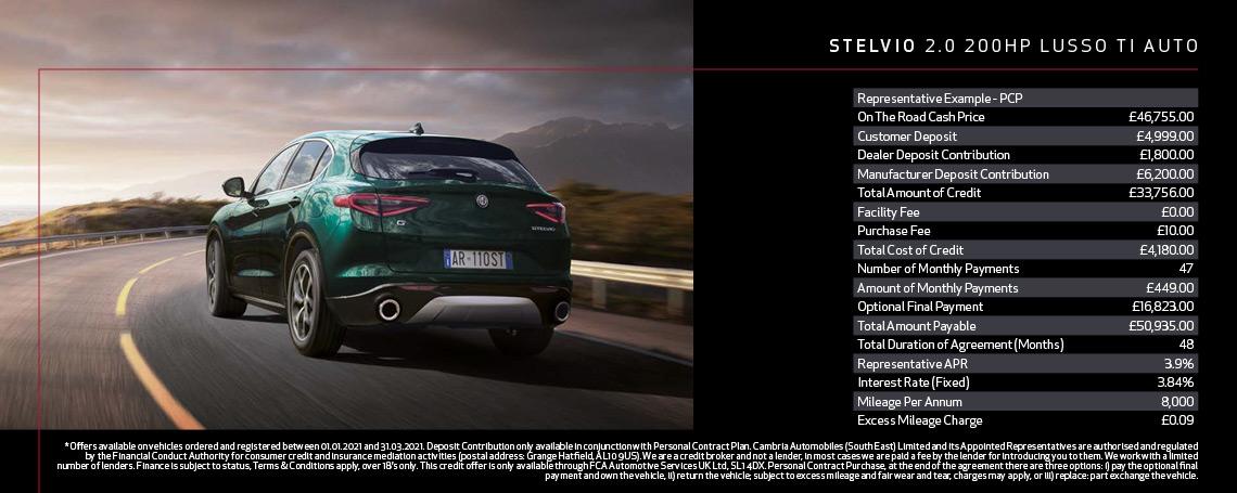 New Alfa Romeo Stelvio Lusso Ti Q1 2021 Offer