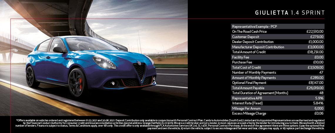 New Alfa Romeo Giulietta Sprint Q1 2021 Offer