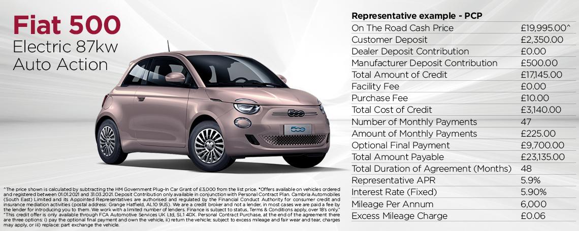 Fiat New 500-e Q1 2021 Offer