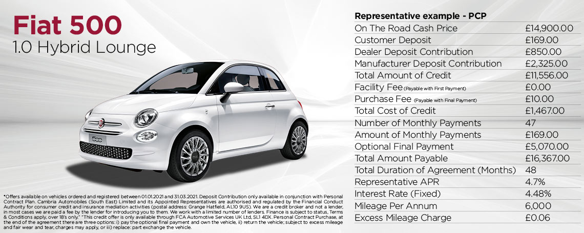 Fiat 500 Hybrid Lounge Q1 Offer