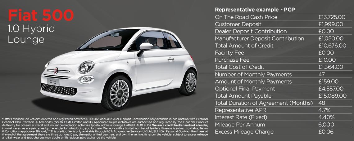 Fiat 500 Hybrid Lounge Q4 Offer