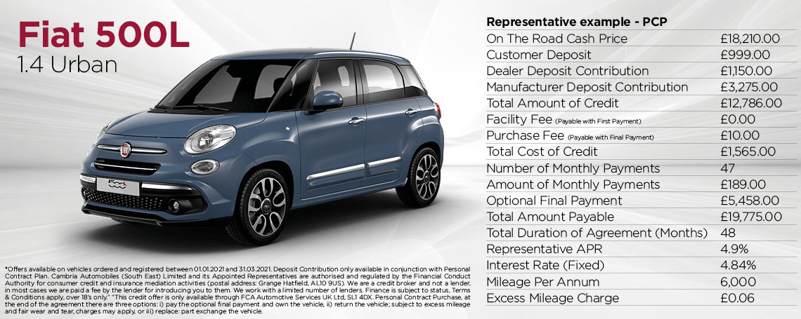 New Fiat 500L Urban Q1 2021 Offer