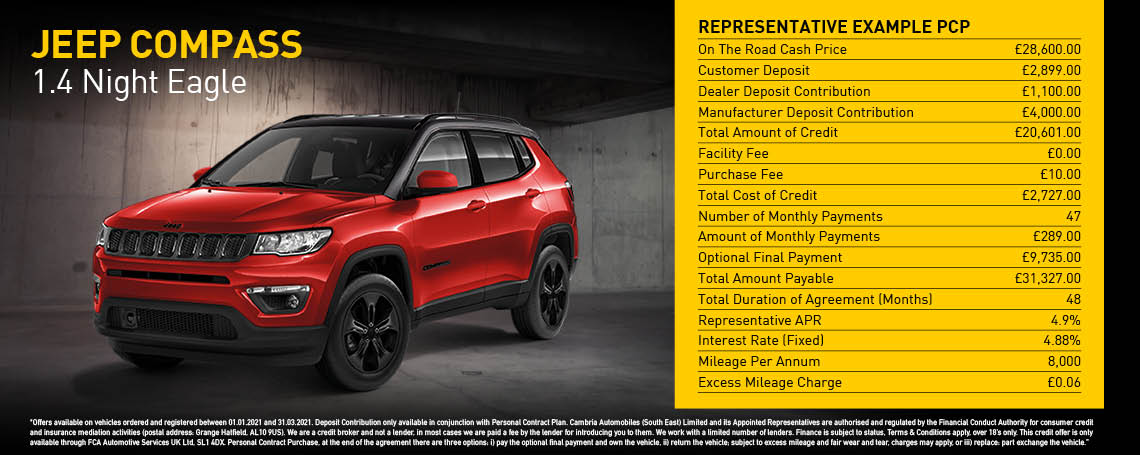 New Jeep Compass Night Eagle Q1 2021 Offer