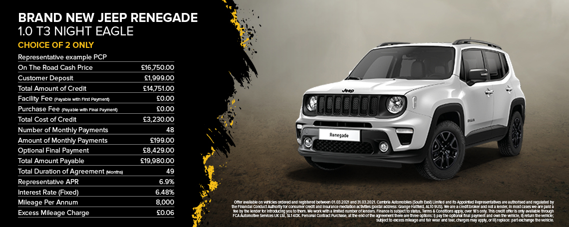 New Jeep Renegade Night Eagle PCH Q1 2021 Offer