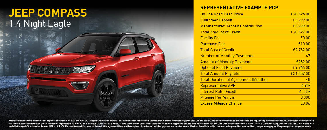 New Jeep Compass Night Eagle Q2 2021 Offer