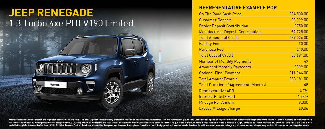 New Jeep Renegade Limited PHEV Auto Q2 2021 Offer