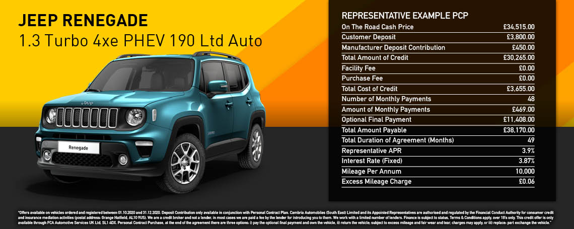 New Jeep Renegade Limited PHEV Auto PCP Offer