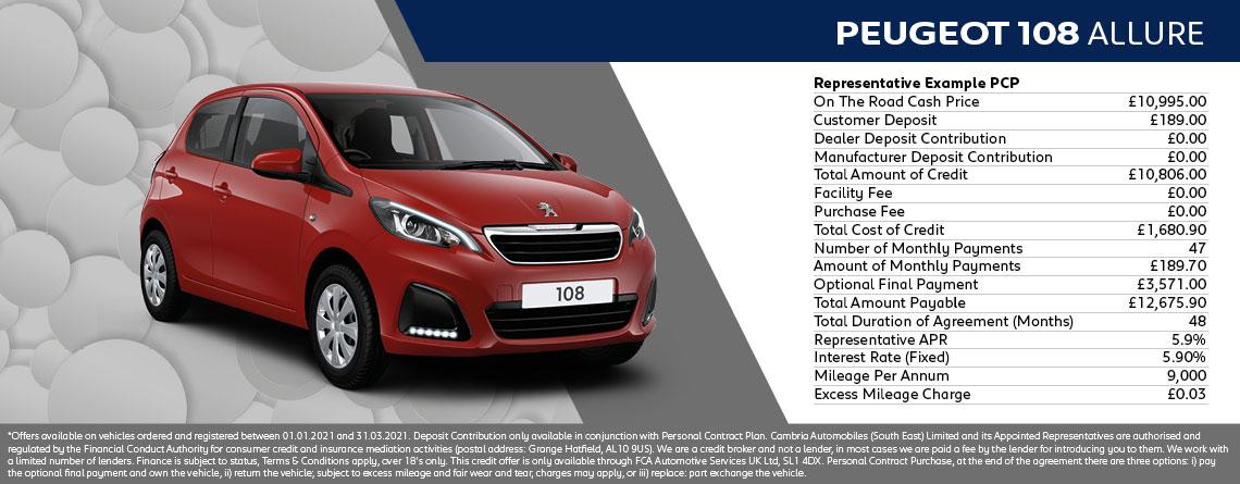 Peugeot 108 Allure 72 5dr Q1 2021 Offer