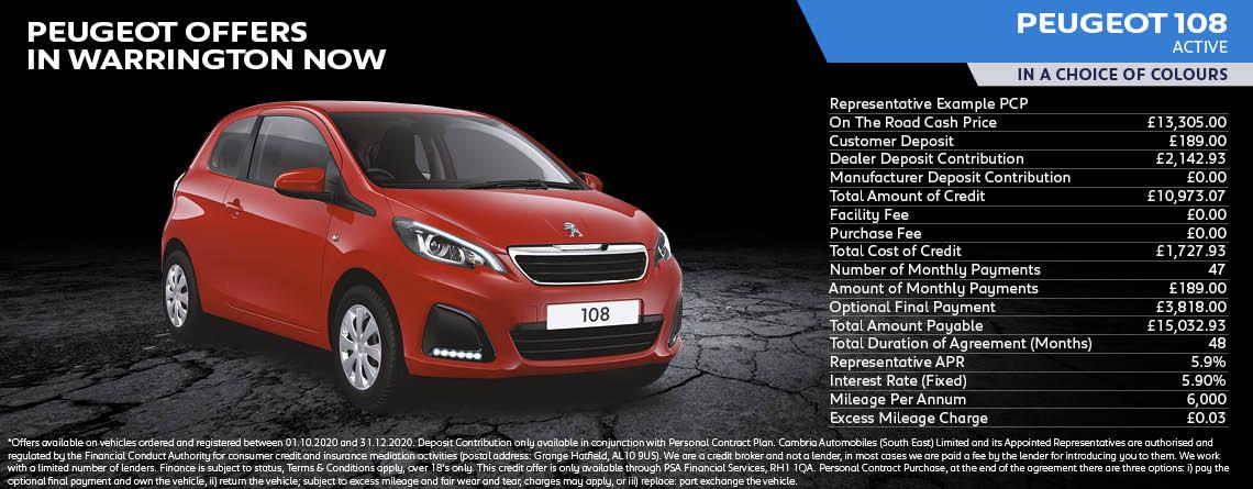 Peugeot 108 Active Q4 Offer