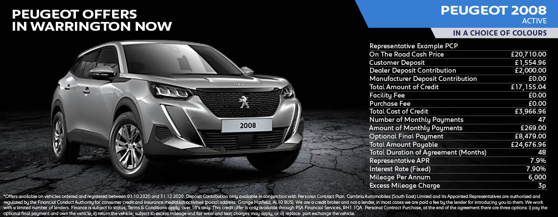 All New Peugeot 2008 SUV Active Q4 Offer