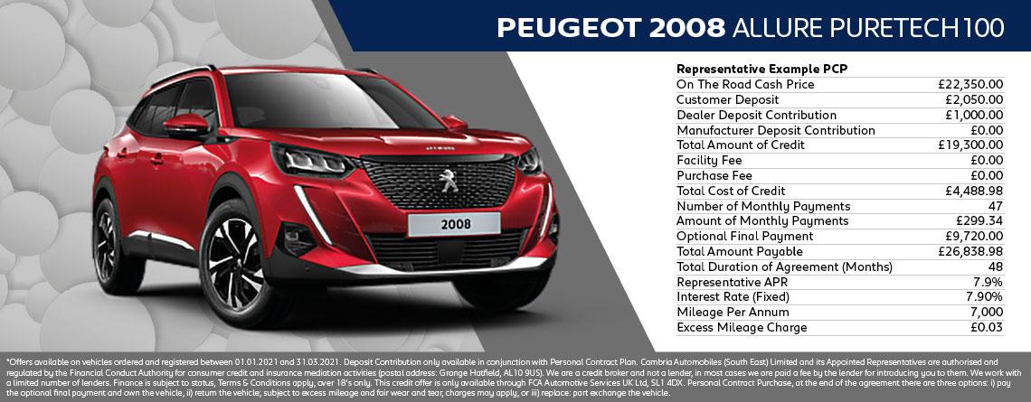Peugeot 2008 SUV Active Q1 2021 Offer