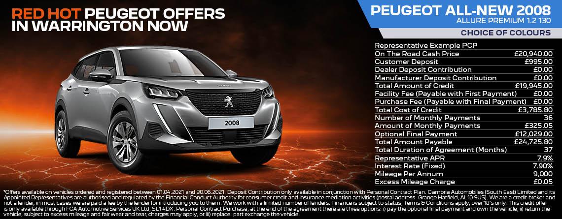 Peugeot 2008 SUV Allure Prem Q2 2021 Offer