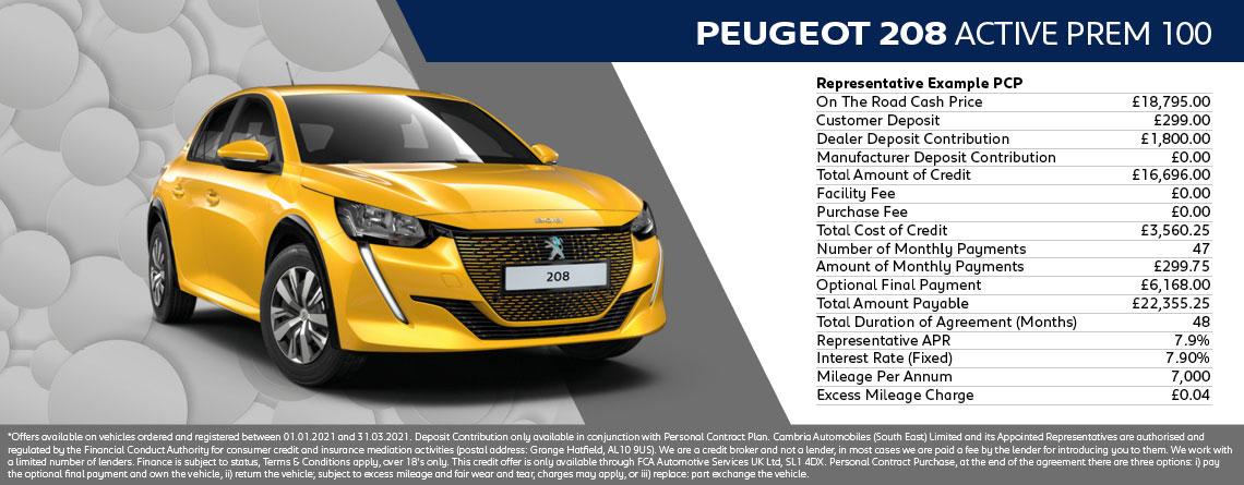 All New Peugeot 208 Allure Premium Q1 2021 Offer