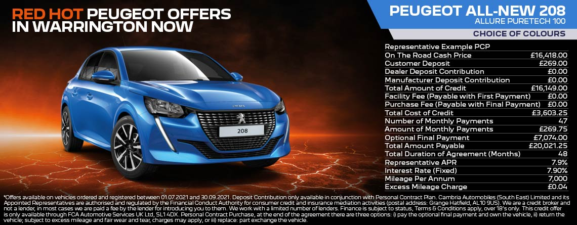 All New Peugeot 208 Allure Q3 2021 Offer