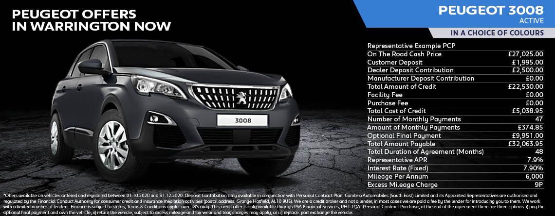 All New Peugeot 3008 1.2 Active Puretech Q4 offer