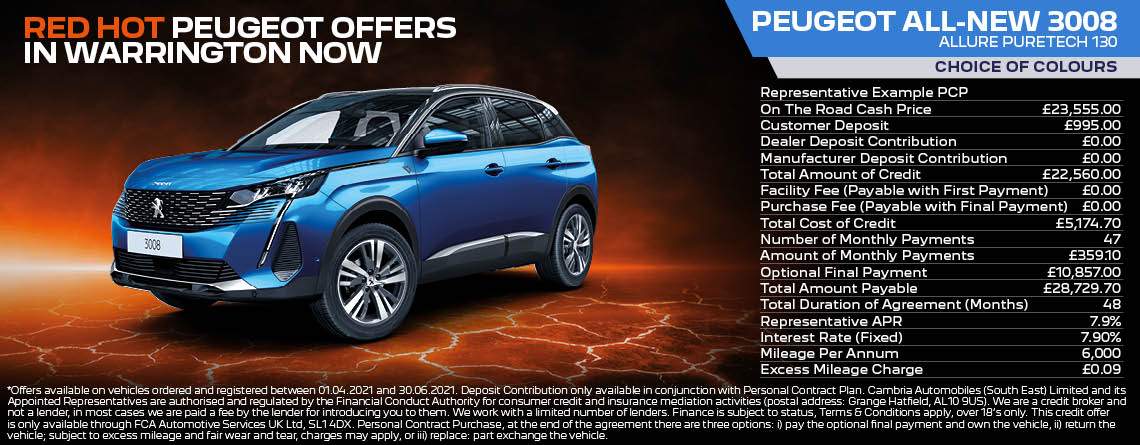 All New Peugeot 3008 Allure Q2 2021 Offer