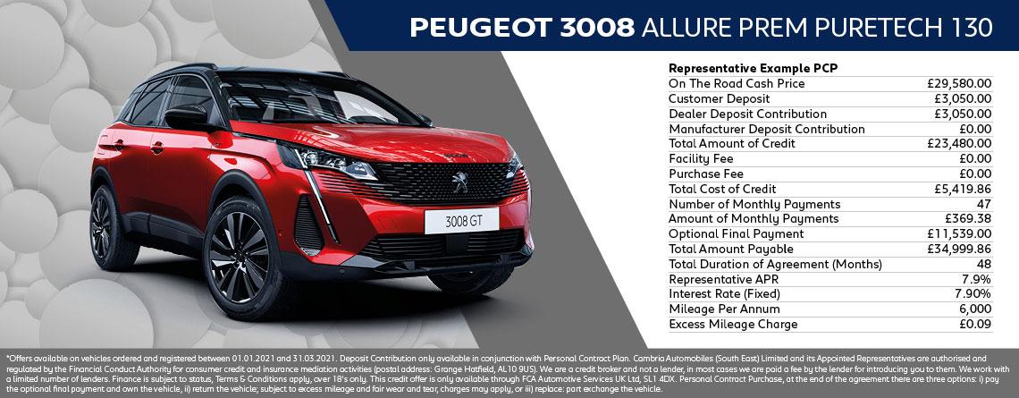 All New Peugeot 3008 Allure Prem Q1 2021 Offer
