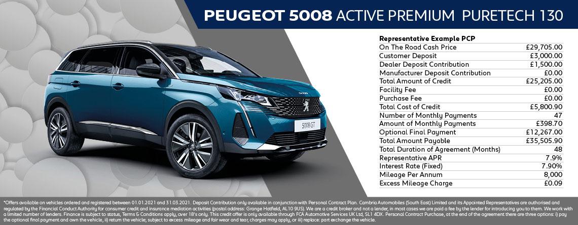 Peugeot 5008 SUV Active Premium 1.2L Q1 2021 Offer