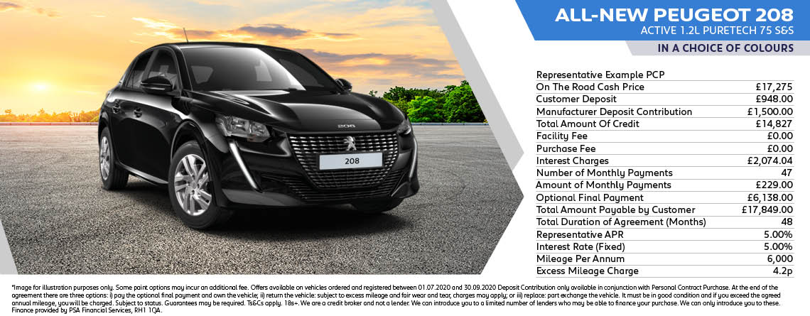 All New Peugeot 208 Active Q3 Offer