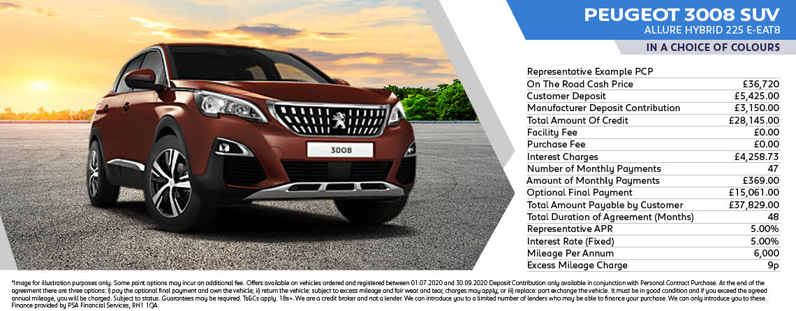 All New Peugeot 3008 Hybrid Allure 225 eEAT8 Q3 Offer