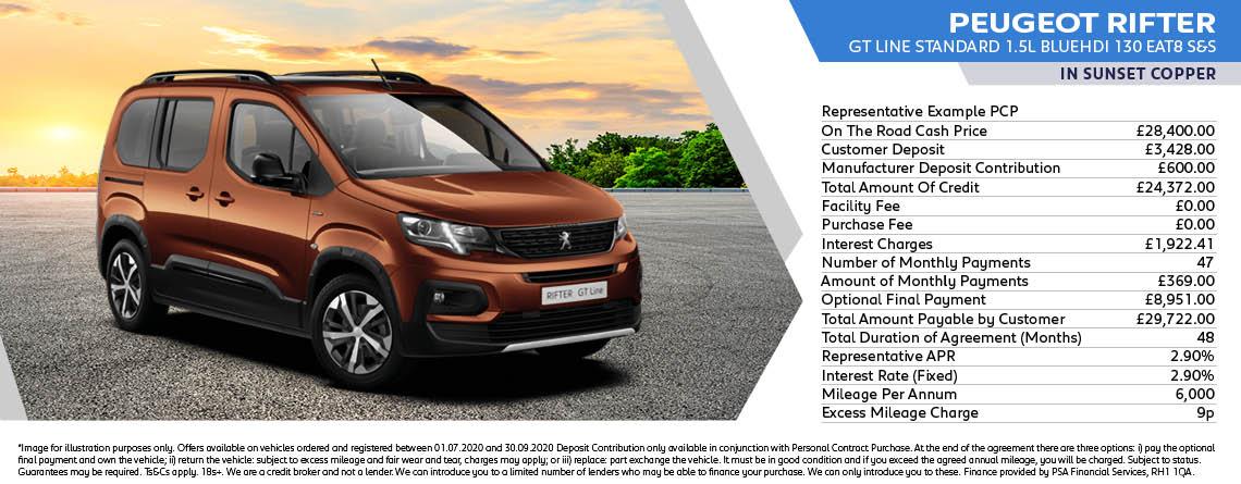 Peugeot Rifter GT Line Standard Q3 Offer