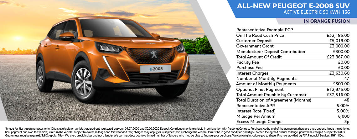 All New Peugeot e2008 Active Electric Q3 Offer