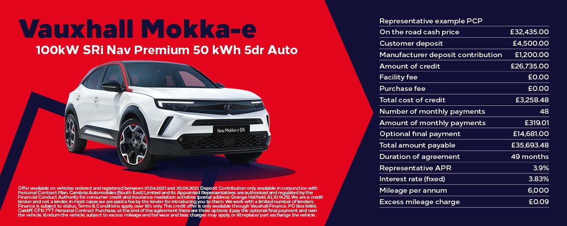 Vauxhall New Mokka-e SRi Nav Premium Q1 Offer
