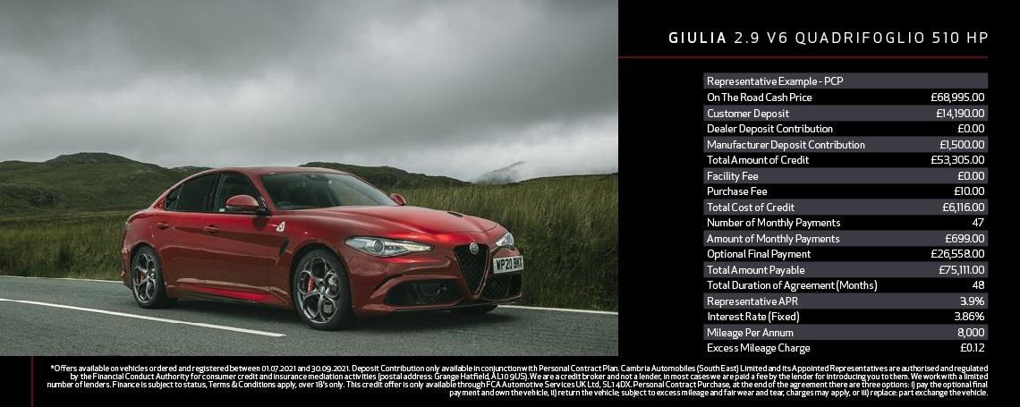 Alfa Romeo Giulia QV Q3 Offer