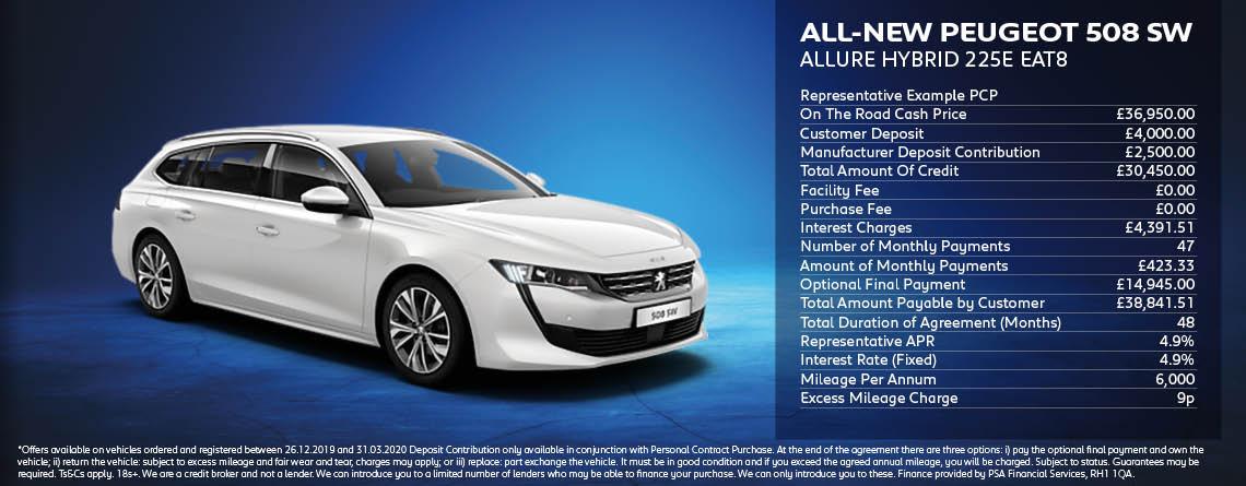 All New Peugeot 508SW Hybrid Allure Offer