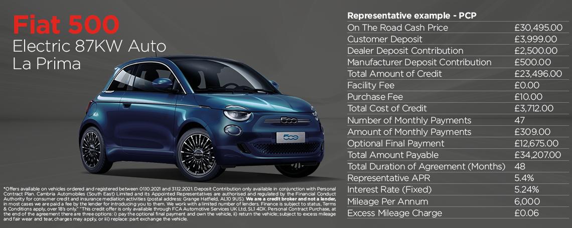 Fiat New 500-e La Prima Q4 2021 Offer