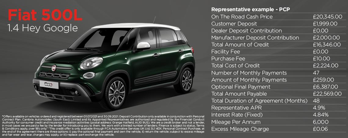 New Fiat 500L Hey Google Q3 2021 Offer