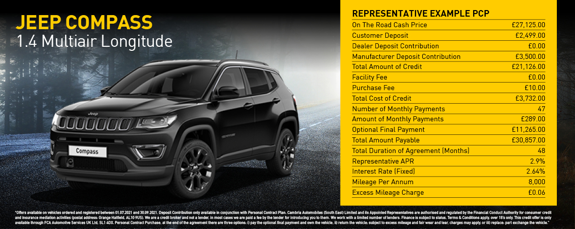 New Jeep Compass Longitude Q3 2021 Offer