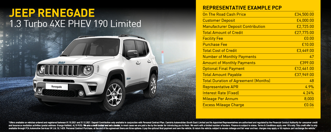 New Jeep Renegade Limited PHEV Auto Q4 2021 Offer