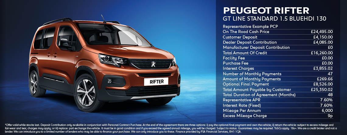 Peugeot Rifter GT Line Standard Offer