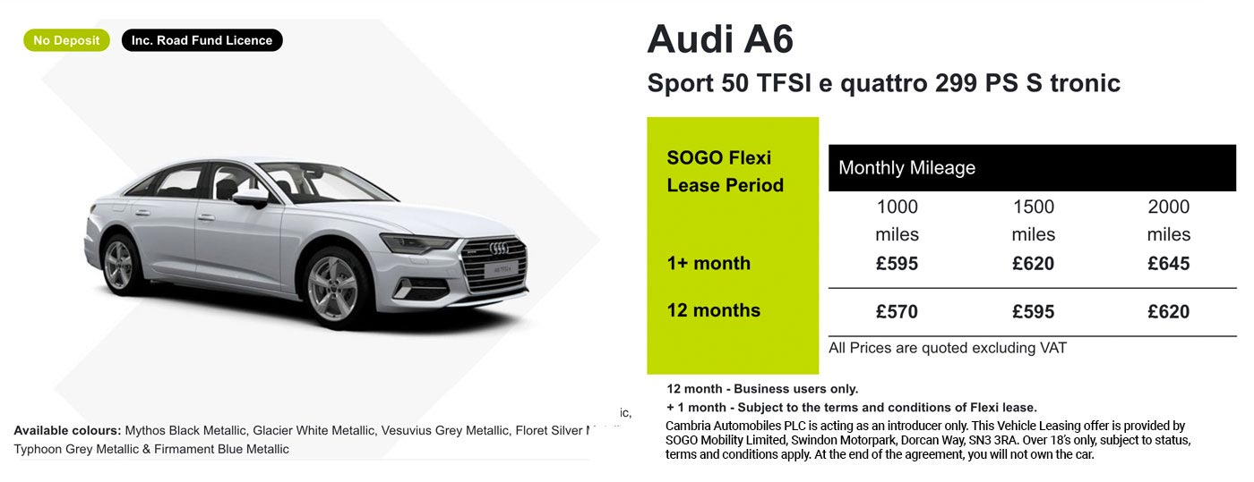 Exclusive Audi A6 Sport Offer - SOGO Vehicle Leasing
