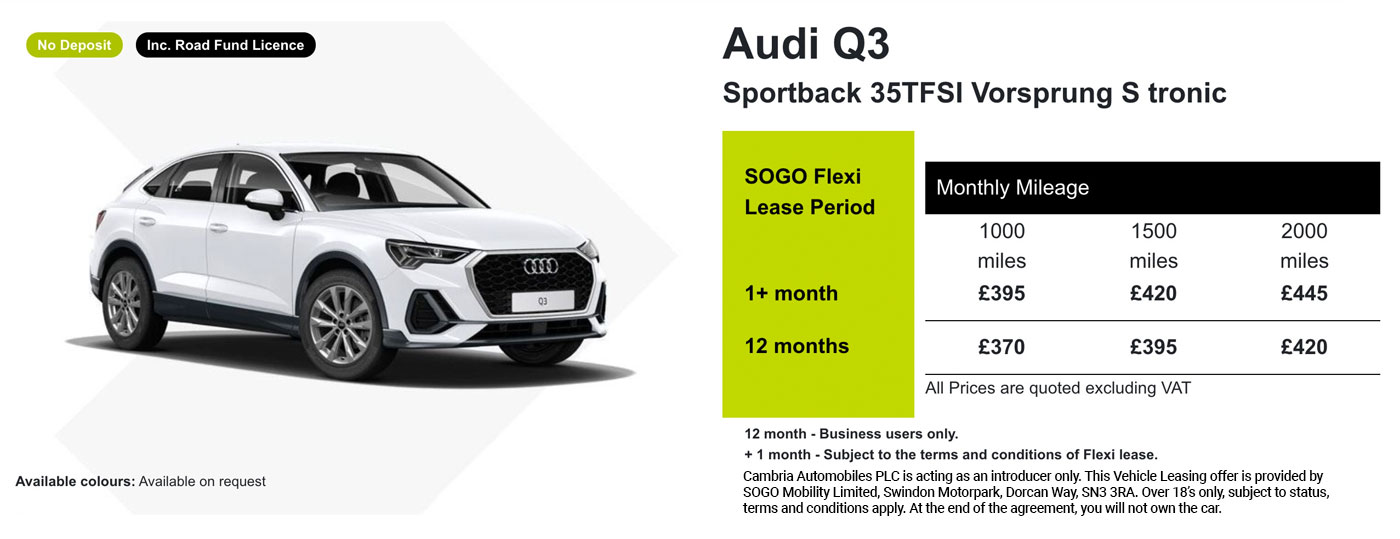 Exclusive Audi Q3 Offer - SOGO Vehicle Leasing