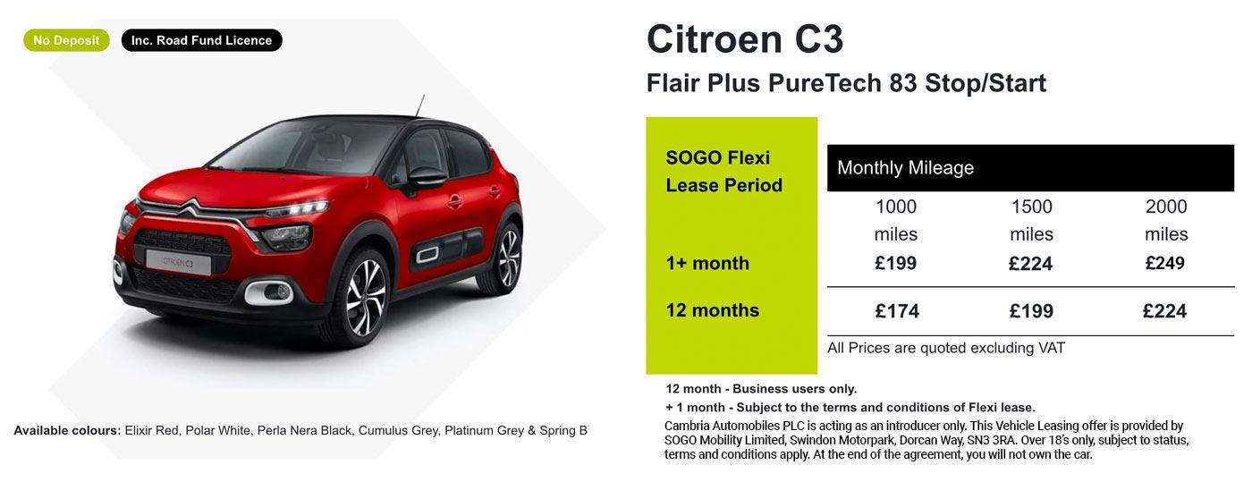 Exclusive Citroen C3 Offer - SOGO Vehicle Leasing
