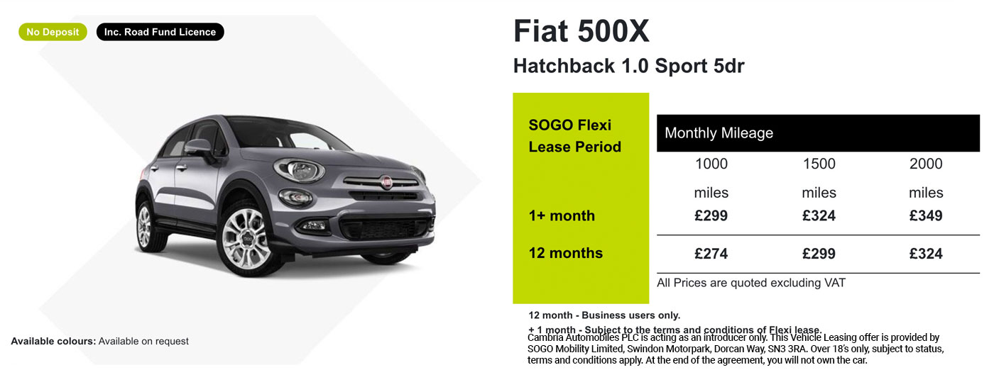 Exclusive Fiat 500X Offer - SOGO Vehicle Leasing