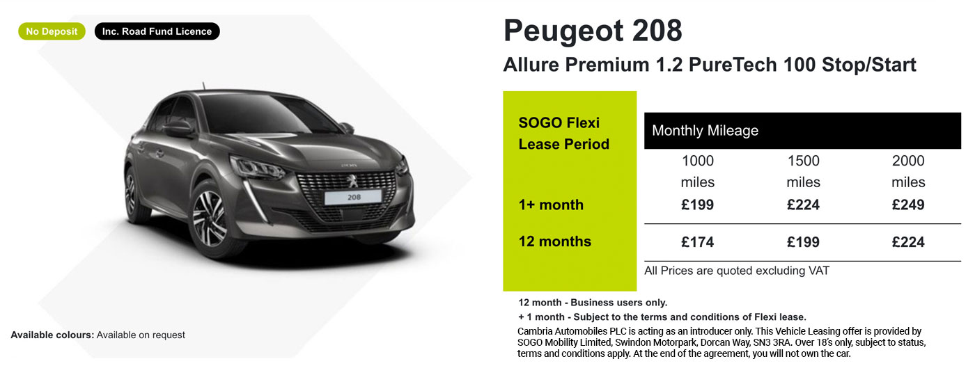 Exclusive Peugeot 208 Offer - SOGO Vehicle Leasing