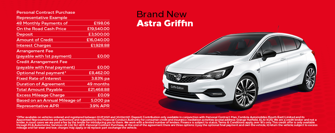 Vauxhall Astra Griffin Q3 2021 Offer
