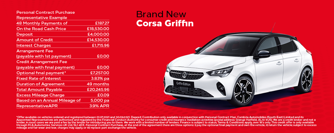 Vauxhall Corsa 1.2 Griffin Edition Q3 Offer
