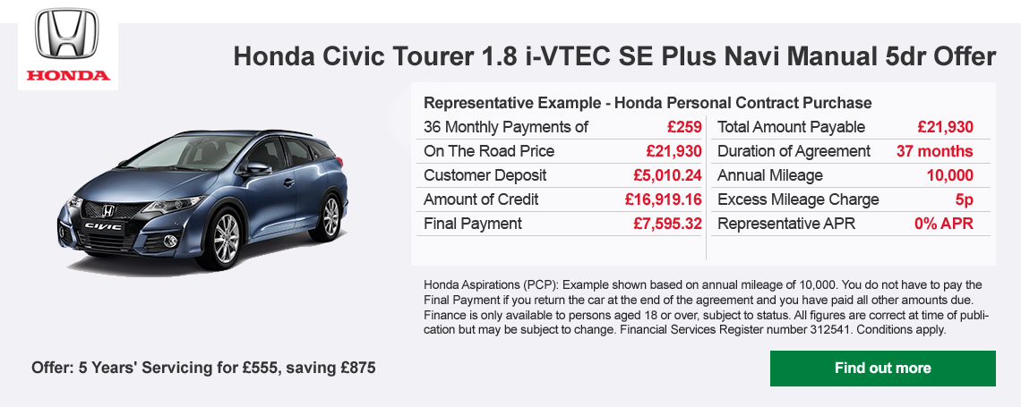 Honda Civic Tourer Offer