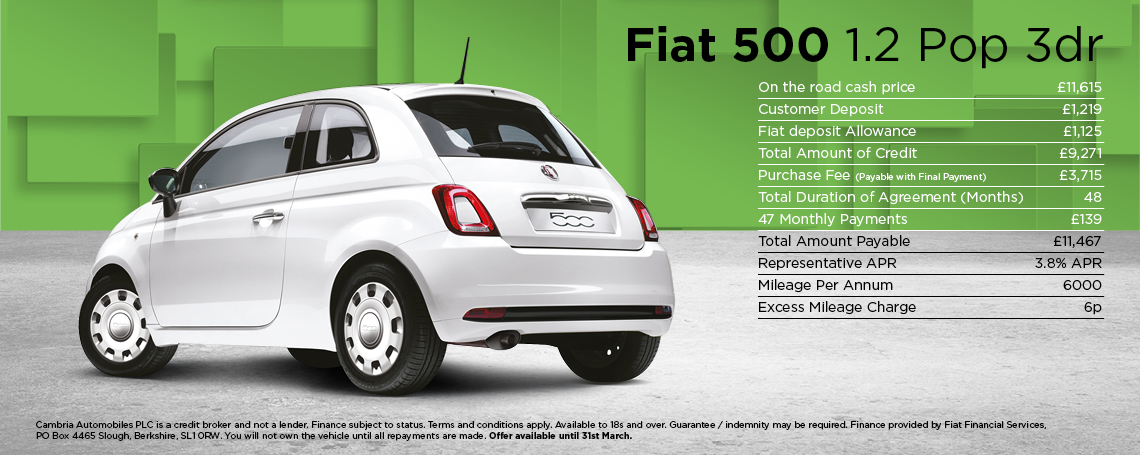 New Fiat 500 Pop Offer