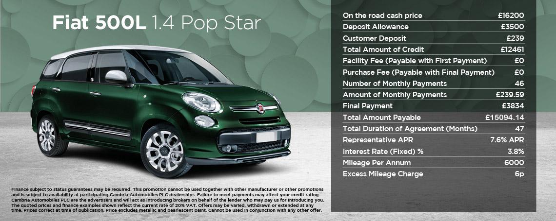 New Fiat 500L Pop Star Offer