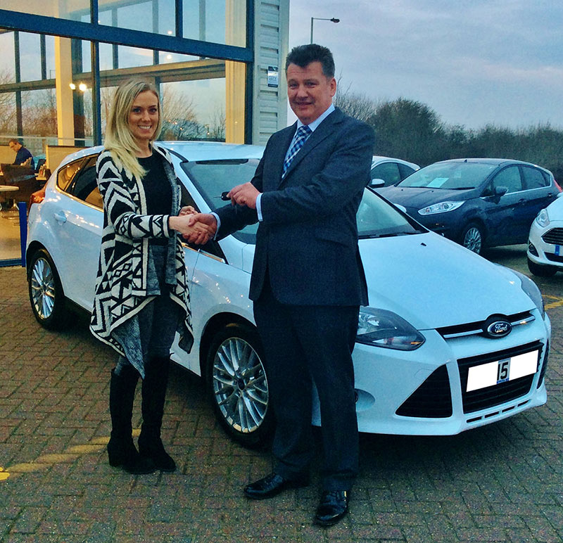 Cambria Automobiles' CEO Mark Lavery hands over the keys to a valued guest at Invicta Ford Ashford