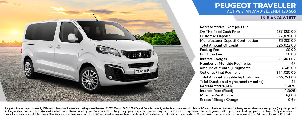 Peugeot Traveller Active Standard Q3 Offer