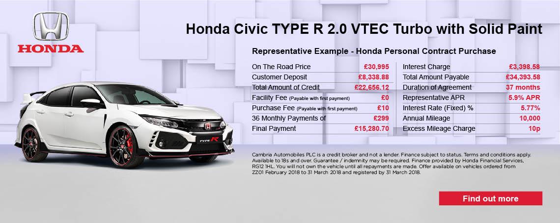 Honda Type-R offer