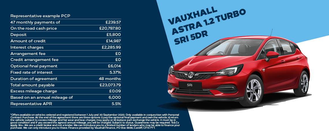 Vauxhall Astra 1.2 Turbo SRi Q3 Offer