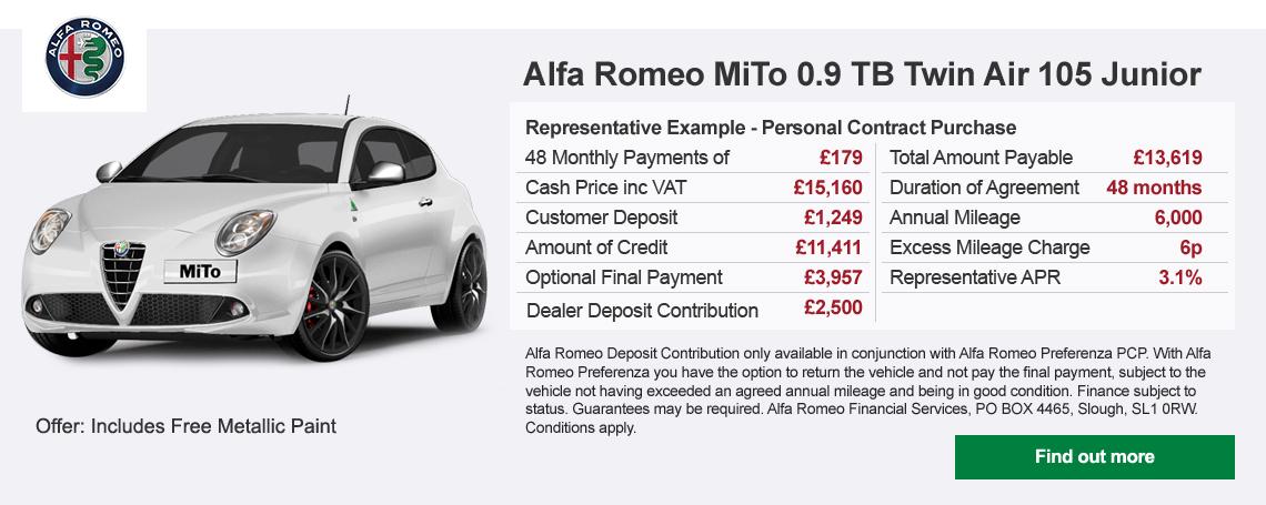 New Alfa Romeo Mito Junior Offer